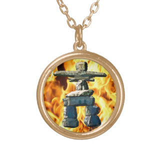 Inukshuk Native American Spirit Stones Gold Plated Necklace