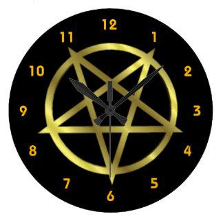 Inverted Gold Pentagram Large Clock