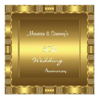"""Invitation 50th Anniversary Wedding Gold Elegant 5.25"""" Square Invitation Card"""