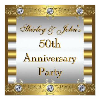 """Invitation 50th Wedding Anniversary Party Gold 5.25"""" Square Invitation Card"""