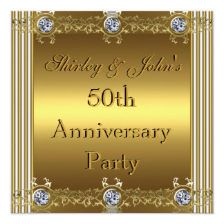 Invitation 50th Wedding Anniversary Party Gold