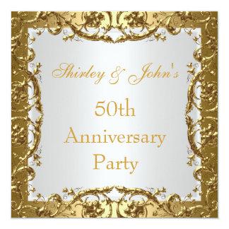"""Invitation 50th Wedding Anniversary Party Gold 2 5.25"""" Square Invitation Card"""