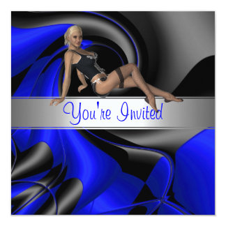 Invitation Abstract Blue Curve Pin up Girl