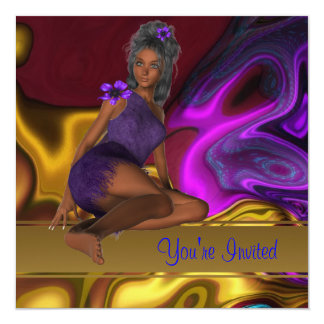 Invitation Abstract Gold Purple Girl 2