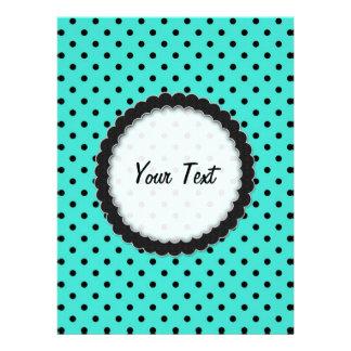 Invitation Black and Turquoise Polka Dot
