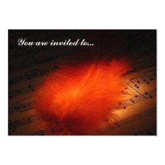 Invitation Card - Feathers & Music
