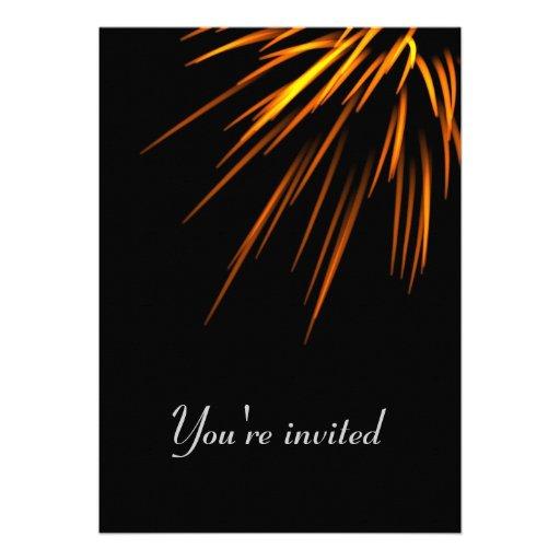 Invitation card - fireworks on black