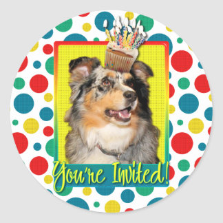 Invitation Cupcake - Australian Shepherd - Dustine Classic Round Sticker