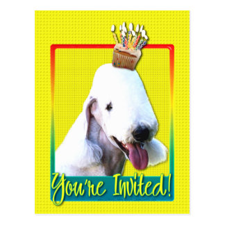 Invitation Cupcake - Bedlington Terrier Postcard