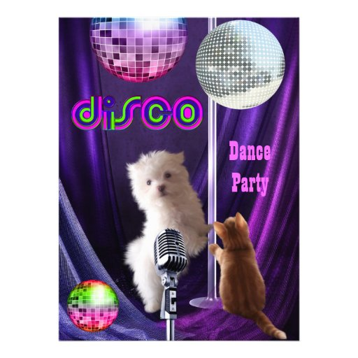 Invitation Disco Party Dog Cat Maltese Puppy Custom Announcements