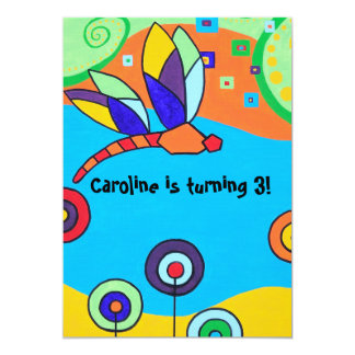 Invitation: Dragonfly and Lollipop Flowers 13 Cm X 18 Cm Invitation Card