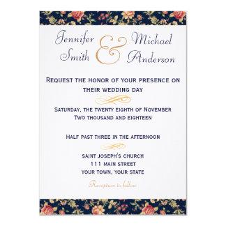 Invitation Elegant Blue Vintage Rose Wedding