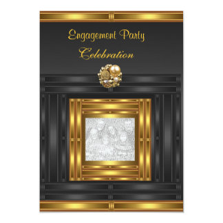 Invitation Engagement Party  Gold on Black Add Pho