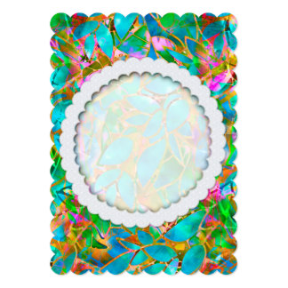 "Invitation Floral Abstract Stained Glass 5"" X 7"" Invitation Card"