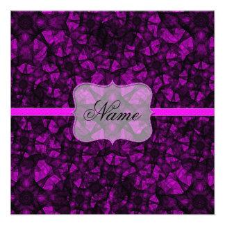 Invitation fractal art black and pink