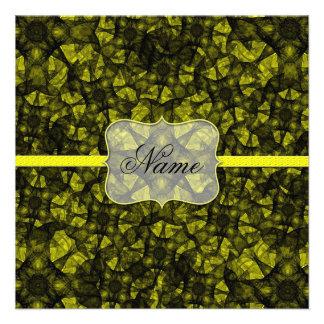 Invitation fractal art black and yellow