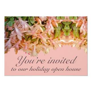 "Invitation Holiday Open House Christmas Cactus 5"" X 7"" Invitation Card"