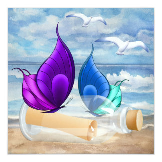 """Invitation in a Bottle"" - Beach Invitation - SRF"