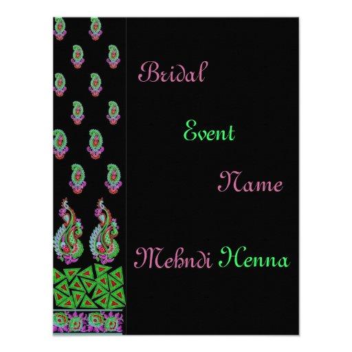 Invitation*Indian*Mehndi*Green*Black
