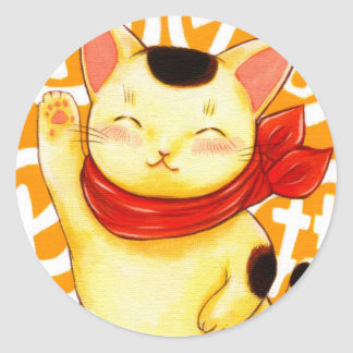 Invitation luck cat classic round sticker