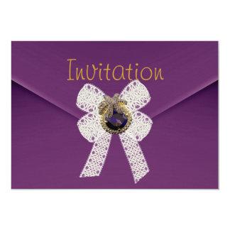 "Invitation Purple Velvet Jewel Envelope Lace Bow 5"" X 7"" Invitation Card"
