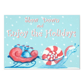 Invitation Style Holiday Card - Light Blue and Red