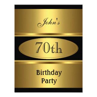Invite 70th Birthday Party Gold Black Mens Invitation