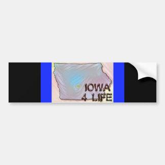 """Iowa 4 Life"" State Map Pride Design Bumper Sticker"