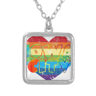 Iowa City Rainbow Gay Silver Plated Necklace