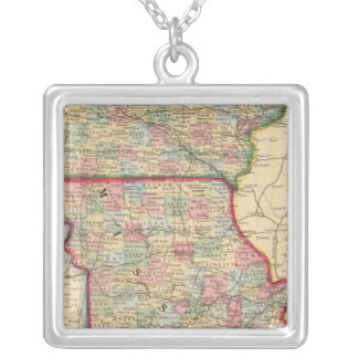 Iowa, Missouri Map by Mitchell Silver Plated Necklace
