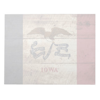 Iowa State Flag on Old Wood Grain Notepad