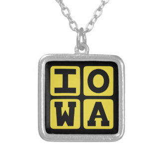 IOWA State Iowan Hawkeye Des Moines Cedar Rapids Silver Plated Necklace