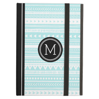 iPad Custom Monogram Black Turquoise Tribal Cover For iPad Air