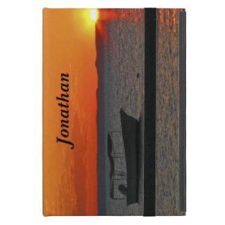iPad Mini Folio Case, Fishing Boat at Sunset Covers For iPad Mini