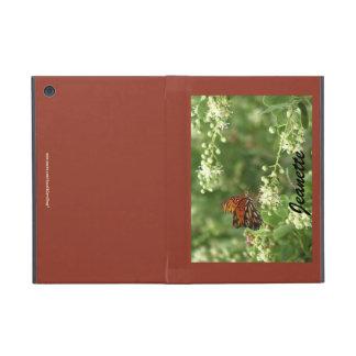 iPad Mini Folio Case, Orange Butterfly Brown Back iPad Mini Covers