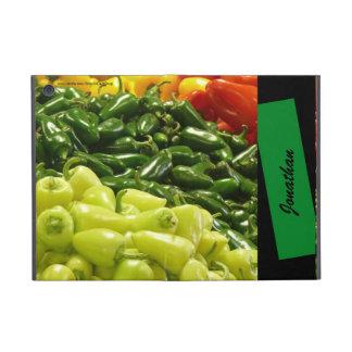 iPad Mini Folio Case Peppers & Stripe Green Black iPad Mini Cover