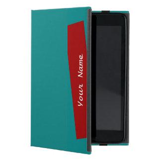iPad Mini Folio Case Solid Turquoise/Brick Stripe iPad Mini Case