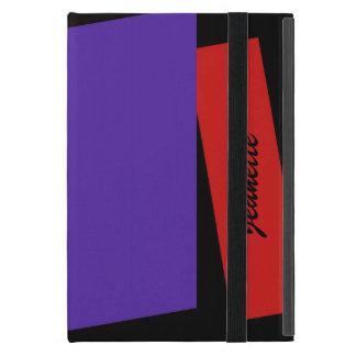 iPad Mini Folio Case, Triple Stripe Red & purple Covers For iPad Mini