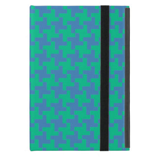 iPad Powis Mini Case Emerald and Blue Dogstooth