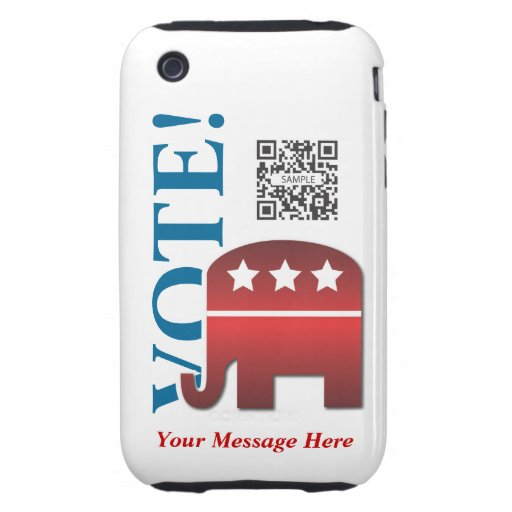 iPhone 3G/3Gs Case Template Elephant Republican iPhone 3 Tough Case