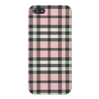 iPhone 4 Case Baby Pink/Black Plaid Pattern