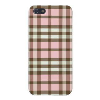 iPhone 4 Case Baby Pink/Chocolate Plaid Pattern