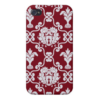 iPhone 4 Case Pattern Red White Damask
