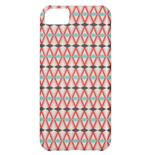 iPhone 5 case - Aztec print in grey blue and coral