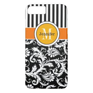 iPhone 7 Case | Damask, Stripes | Orange Gold