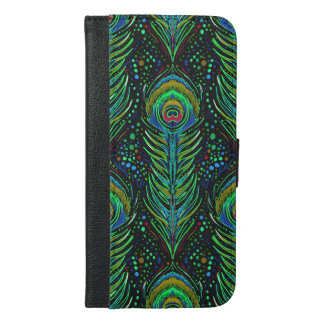 iphone wallet case in green peacock feathers
