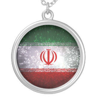 Iran Flag Firework Silver Plated Necklace