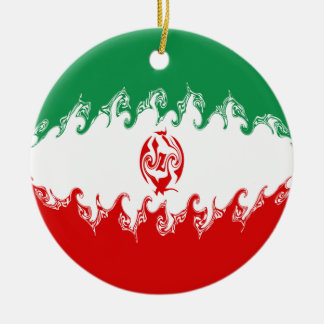 Iran Gnarly Flag Round Ceramic Decoration