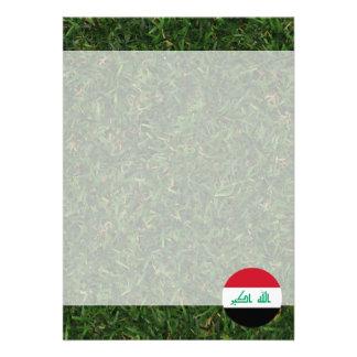 Iraq Flag on Grass 13 Cm X 18 Cm Invitation Card