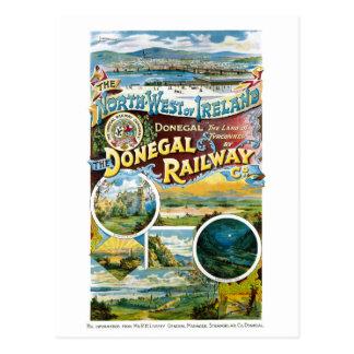 Ireland Donegal Railway Restored Vintage Poster Postcard